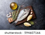raw fish cooking and... | Shutterstock . vector #594607166