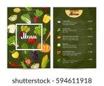vegetarian restaurant food menu ... | Shutterstock .eps vector #594611918