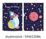 happy birthday cartoon greeting ... | Shutterstock .eps vector #594612086