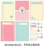 template for notebook paper ... | Shutterstock .eps vector #594618848