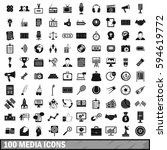 100 media icons set in simple... | Shutterstock .eps vector #594619772