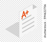 perfect grade on a paper test... | Shutterstock .eps vector #594622706