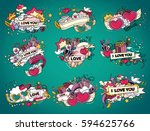 set of love. greeting cards for ... | Shutterstock .eps vector #594625766