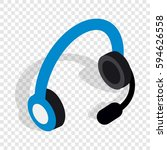 headphones with microphone... | Shutterstock .eps vector #594626558
