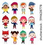 group of children collection | Shutterstock .eps vector #594628778