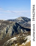 Small photo of The mountain range Dobrostica and the peak of the Subra in the mountain range Orien, Montenegro