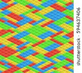 plastic building blocks  3d... | Shutterstock .eps vector #594637406
