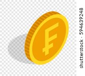 gold coin with swiss frank sign ... | Shutterstock .eps vector #594639248