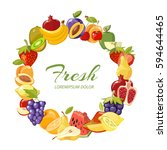 fruits healthy eating vector... | Shutterstock .eps vector #594644465