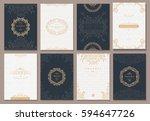 retro creative card template... | Shutterstock .eps vector #594647726