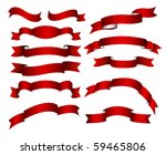 red ribbons  banners set | Shutterstock .eps vector #59465806
