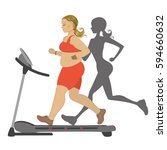 fat girl running on a treadmill ... | Shutterstock .eps vector #594660632