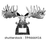 funny old scruffy moose with... | Shutterstock . vector #594666416