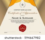certificate of appreciation... | Shutterstock .eps vector #594667982