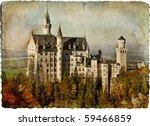 Neuschwanstein castle - retro styled picture - stock photo