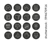 cinema icon set in circle... | Shutterstock .eps vector #594670916