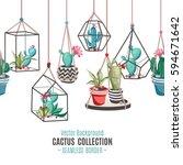 cacti flower pattern. seamless... | Shutterstock .eps vector #594671642