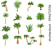 tropical plants and palm trees... | Shutterstock .eps vector #594672536