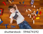 child with 3d virtual reality ... | Shutterstock . vector #594674192
