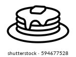 breakfast pancakes with syrup... | Shutterstock .eps vector #594677528