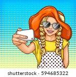 vector pop art little girl in...   Shutterstock .eps vector #594685322