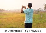 golfer finishing his driver... | Shutterstock . vector #594702386