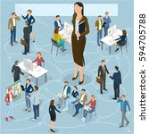 businesswoman big boss leader...   Shutterstock .eps vector #594705788