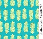 fresh blue yellow pineapples... | Shutterstock .eps vector #594709202