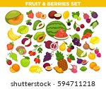 fruits and berries set. vector... | Shutterstock .eps vector #594711218