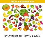 fruits and berries set. vector... | Shutterstock .eps vector #594711218