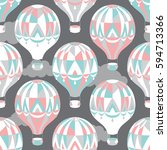 seamless pattern with balloons... | Shutterstock .eps vector #594713366