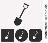 shovel vector icon.... | Shutterstock .eps vector #594714905