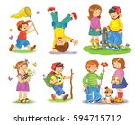 set of cute kids playing... | Shutterstock . vector #594715712