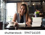 asian woman relaxing and... | Shutterstock . vector #594716105