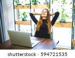 happy young businesswoman...   Shutterstock . vector #594721535