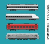passenger trains in flat style. ... | Shutterstock .eps vector #594730808