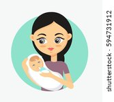 mother feeding her baby with... | Shutterstock .eps vector #594731912