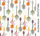 vector seamless pattern with... | Shutterstock .eps vector #594737486