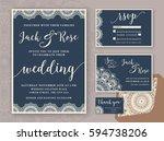 rustic wedding invitation...   Shutterstock .eps vector #594738206