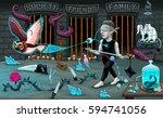 the magician's way. vector... | Shutterstock .eps vector #594741056