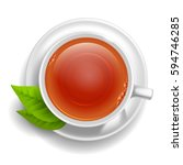 cup of black tea on saucer with ... | Shutterstock .eps vector #594746285