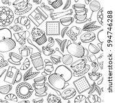 tea seamless pattern in outline ... | Shutterstock .eps vector #594746288
