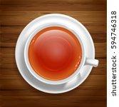 white cup of black tea on... | Shutterstock .eps vector #594746318