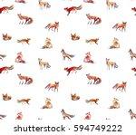 Fox Watercolor Pattern...