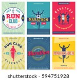 run club posters set. marathon... | Shutterstock .eps vector #594751928