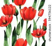 wildflower tulip flower pattern ... | Shutterstock . vector #594756122