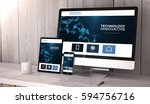 digital generated devices on...   Shutterstock . vector #594756716