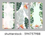 tropical hawaii leaves palm...   Shutterstock . vector #594757988