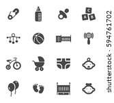 vector black baby icons set on... | Shutterstock .eps vector #594761702
