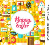 flat happy easter greeting.... | Shutterstock .eps vector #594767612